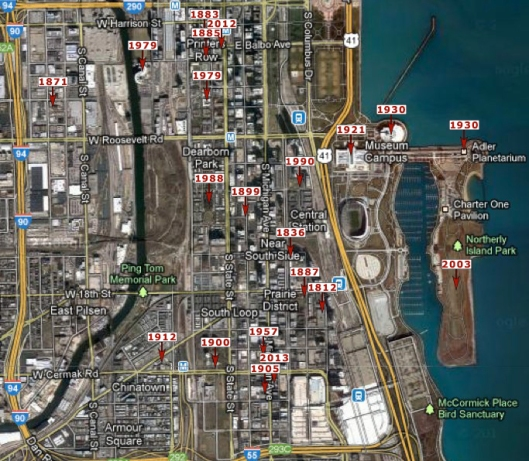 South Loop History Chicago Timeline Map