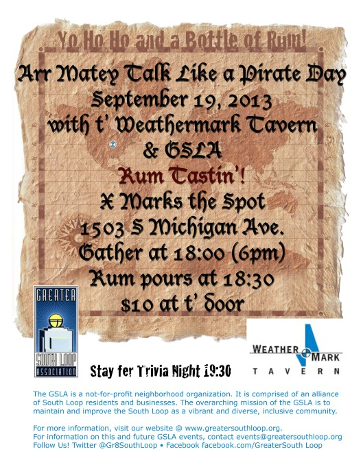 Rum Tasting Talk Like a Pirate Day Greater South Loop Association GSLA