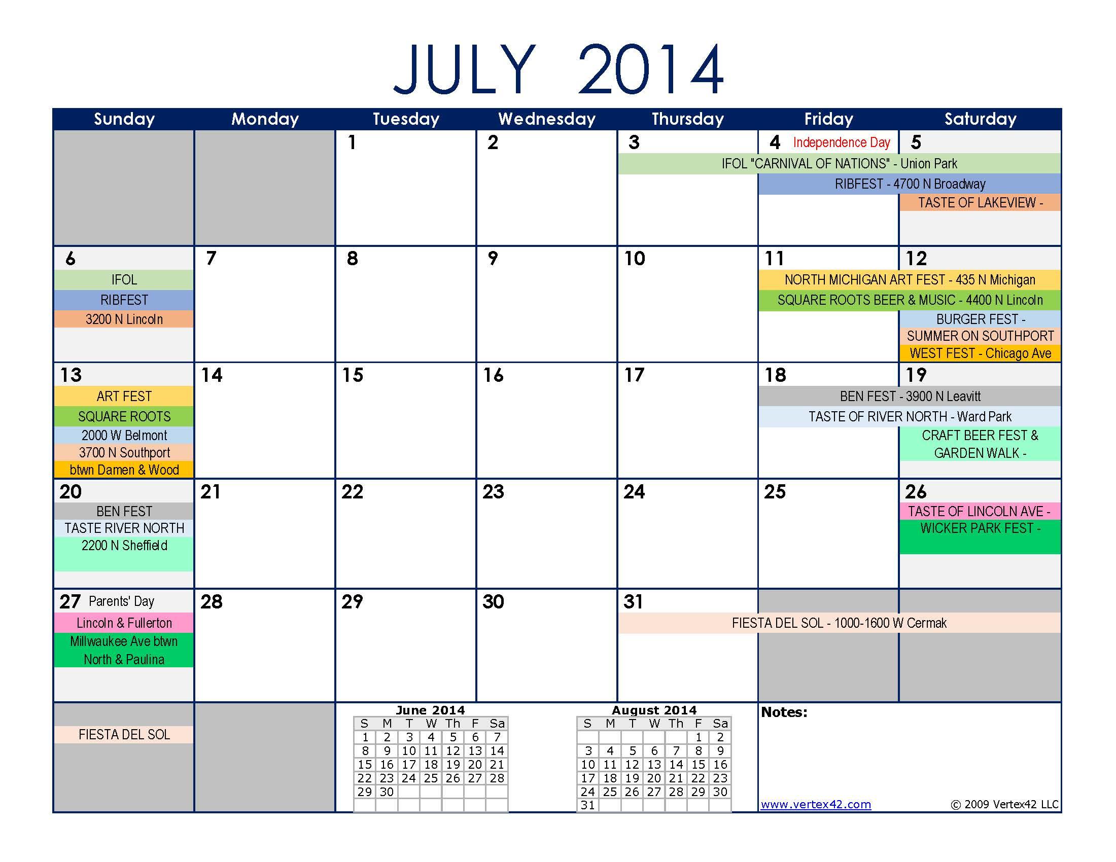 July 2014 Chicago Street Festival Schedule | Chicago City